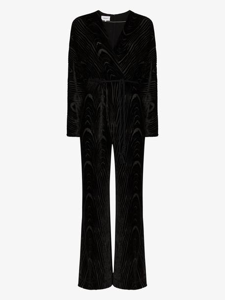 Nanushka Jax devoré velvet jumpsuit in black
