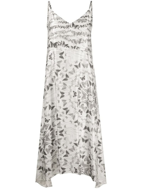 AllSaints butterfly-print slip dress in white