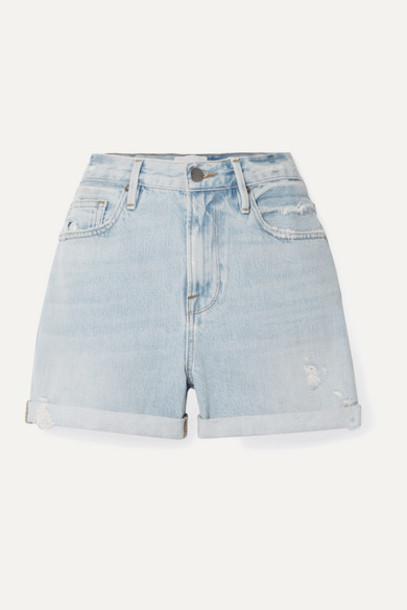FRAME - Le Beau Distressed Denim Shorts - Blue