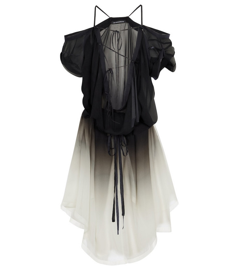 Ann Demeulemeester Silk chiffon tunic in black