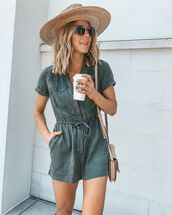 romper,short sleeve,sun hat,sunglasses,crossbody bag