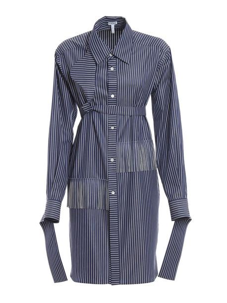 Loewe Striped Shirt Dress in blue / white