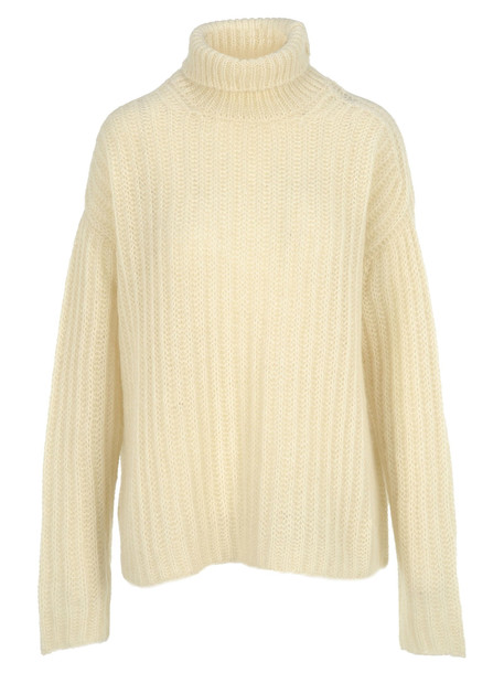 Marni Turtleneck Knit Jumper in stone / white