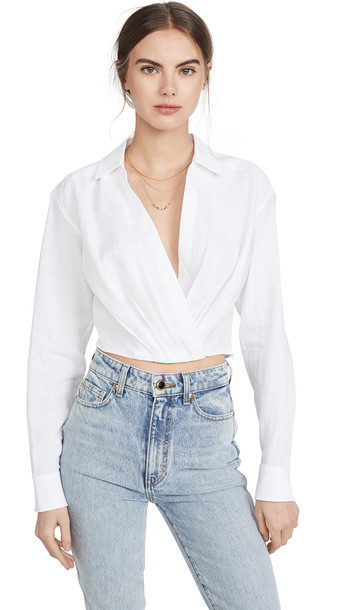 Marissa Webb Maxwell Linen Shirt in white