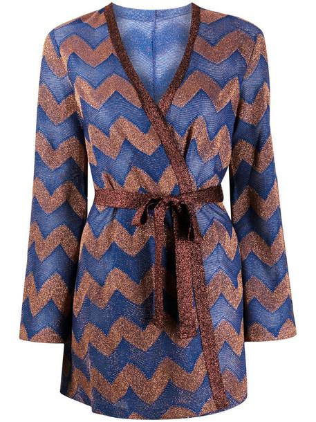 M Missoni zigzag wrap-tie cardigan in blue