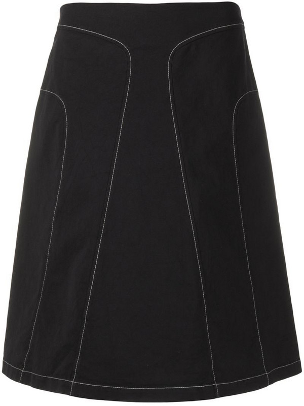 Jil Sander Pre-Owned 2000s contrast stitching A-line skirt in black