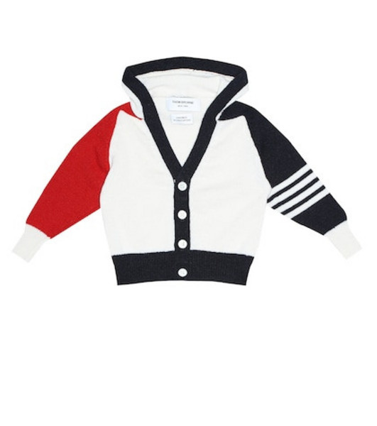 Thom Browne Kids Hooded cashmere cardigan in white