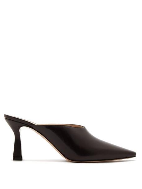 Wandler - Lotte Leather Mules - Womens - Dark Brown