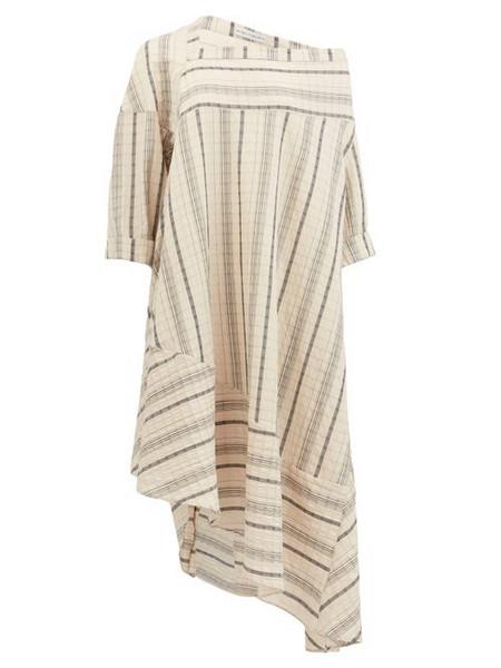Palmer/harding Palmer//harding - Off-shoulder Striped Linen-blend Dress - Womens - Beige Stripe
