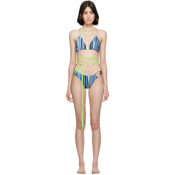 Louisa Ballou SSENSE Exclusive Multicolor Whiplash Bikini in blue