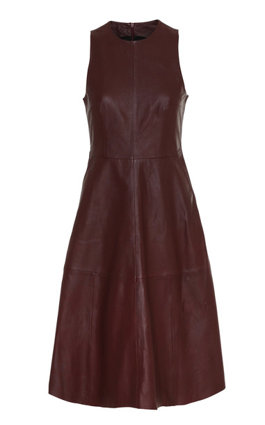 Remain Portia Leather Dress in burgundy