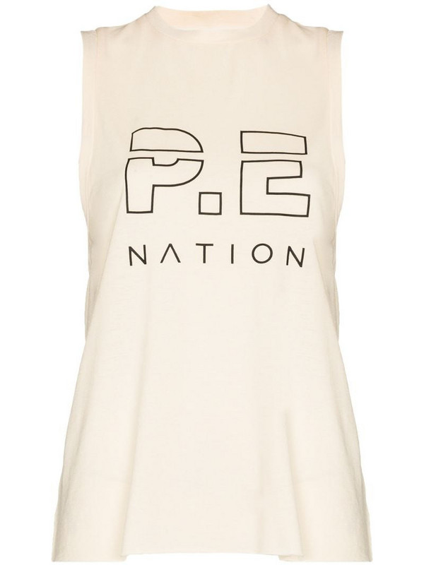 P.E Nation logo print tank top in neutrals