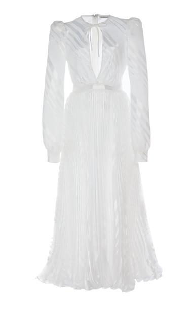 Alessandra Rich Plisse Organza V-Neck Midi Dress Size: 40 in white