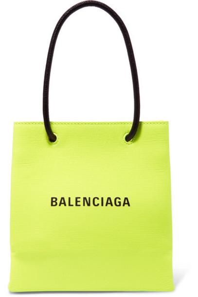 Balenciaga - Xxs Printed Neon Textured-leather Tote - Green