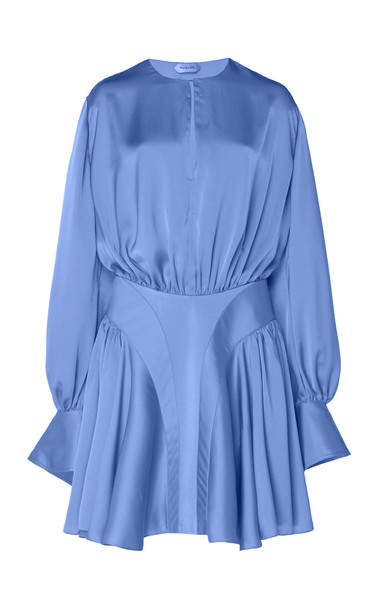 MUGLER Draped Satin Mini Dress Size: 36 in blue