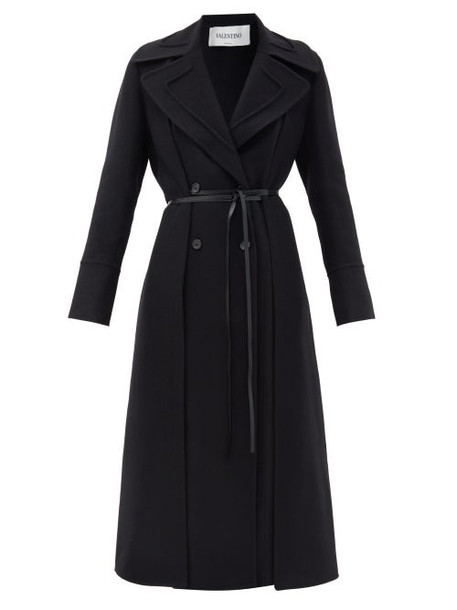 Valentino - Double-breasted Layered Belted Wool Coat - Womens - Black