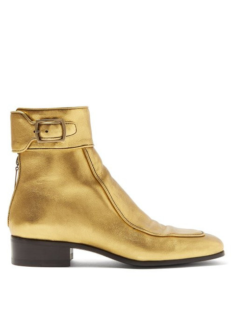 Saint Laurent - Miles Metallic Leather Ankle Boots - Womens - Gold