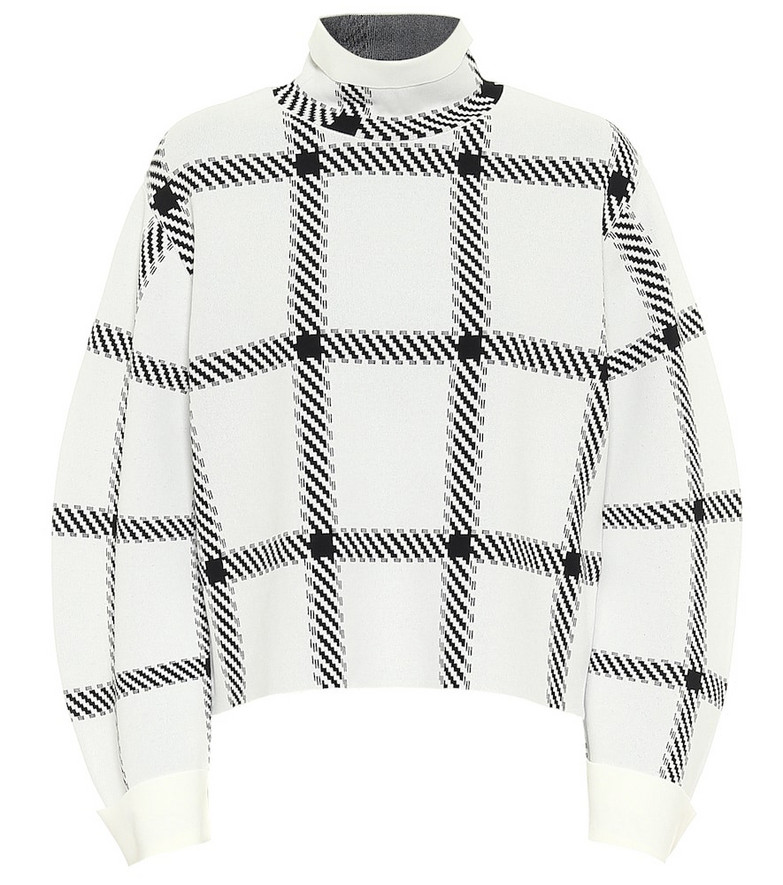 Stella McCartney Checked funnel-neck sweater in white