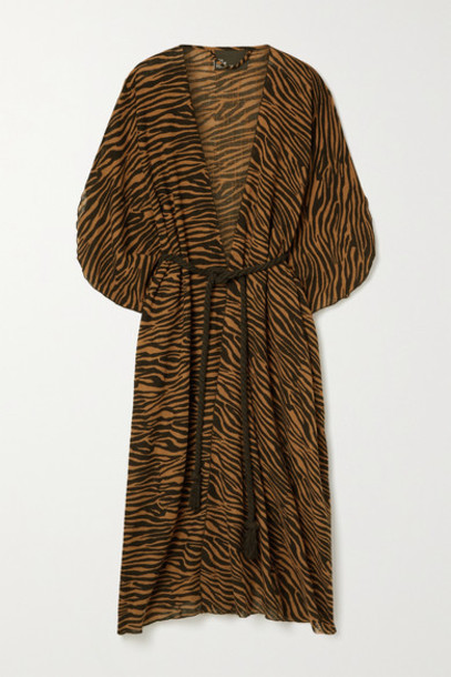 Lisa Marie Fernandez - Adwoa Zebra-print Cotton-voile Kaftan - Zebra print