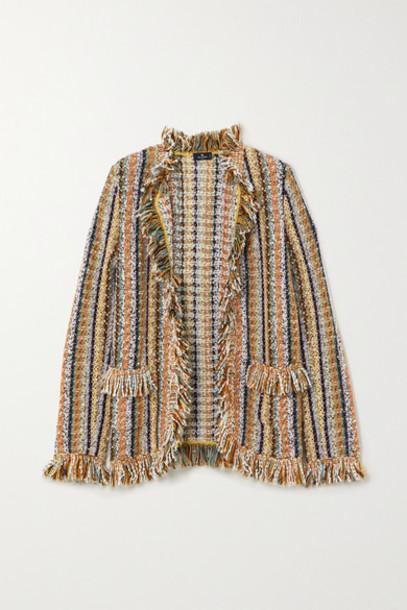 Etro - Fringed Striped Knitted Cardigan - Beige