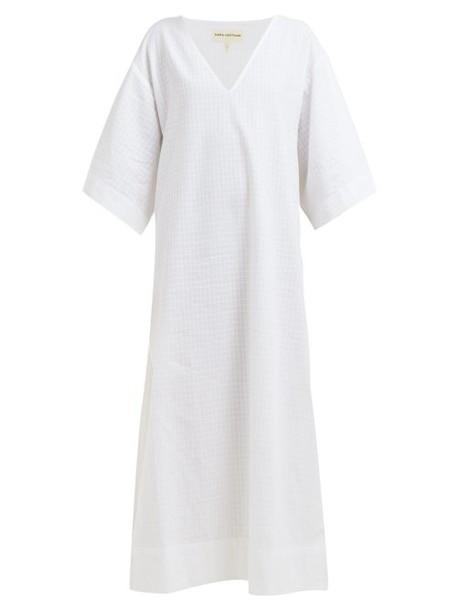 Mara Hoffman - Paola V Neck Side Slit Cotton Kaftan - Womens - White