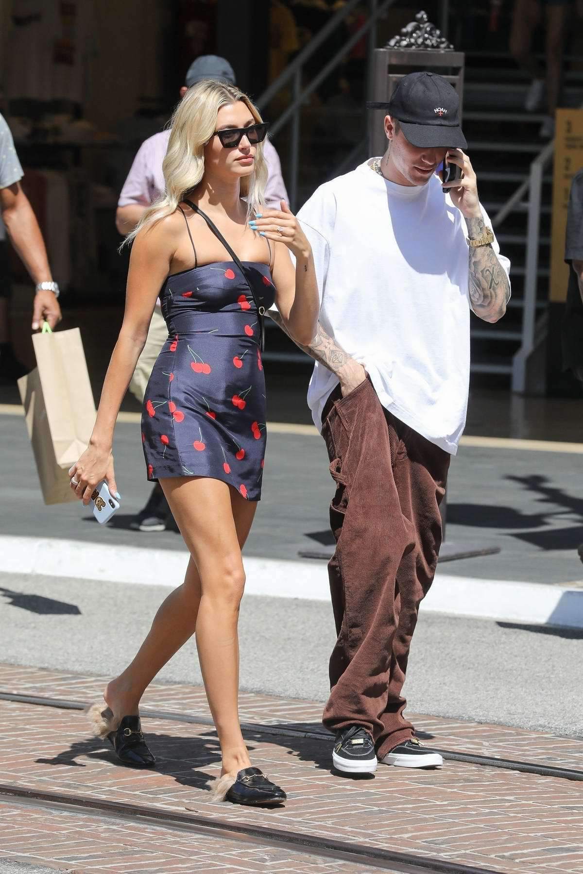 dress mini dress cherry hailey baldwin model off-duty summer dress summer outfits justin bieber