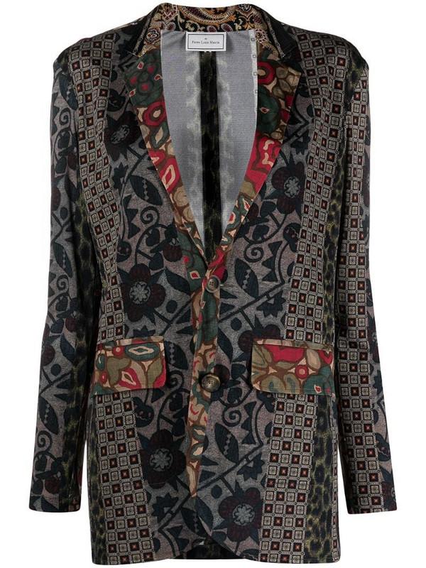 Pierre-Louis Mascia floral-print silk blazer in grey