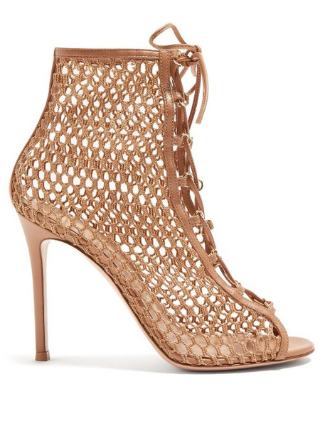 Gianvito Rossi - Cage 105 Mesh And Leather Ankle Boots - Womens - Nude