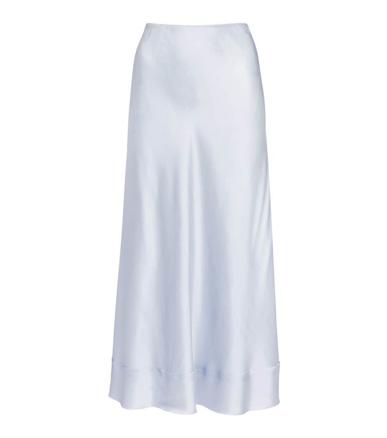 Lee Mathews Stella silk satin midi skirt in blue