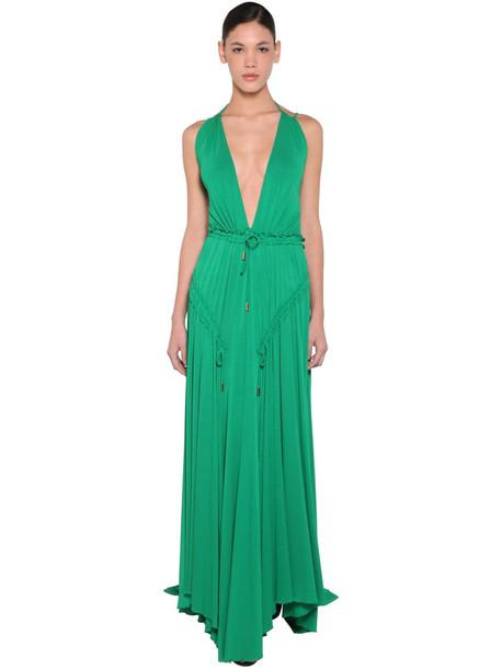 DSQUARED2 Long Light Viscose Crepe Dress in green