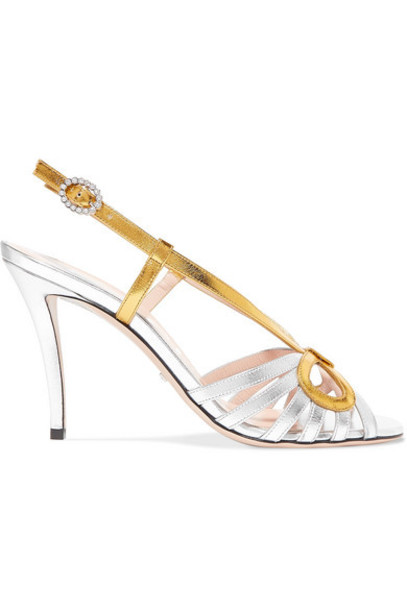 Gucci - Zephyra Crystal-embellished Metallic Leather Sandals - Silver