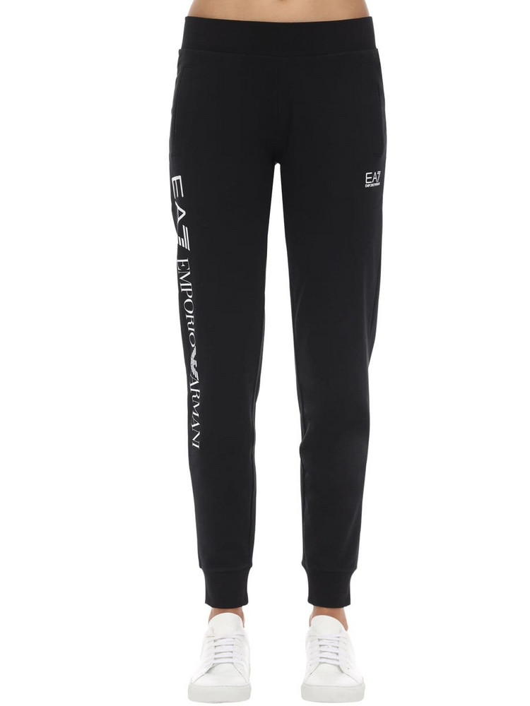 EA7 EMPORIO ARMANI Train Stretch Cotton Sweatpants in black / white