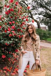 gal meets glam,blogger,coat,t-shirt,shorts,jeans,shoes,bag,trench coat,basket bag,striped top
