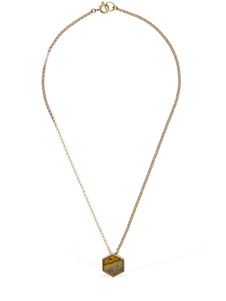 ISABEL MARANT Golden Mother Short Necklace W/ Stone in gold / mustard