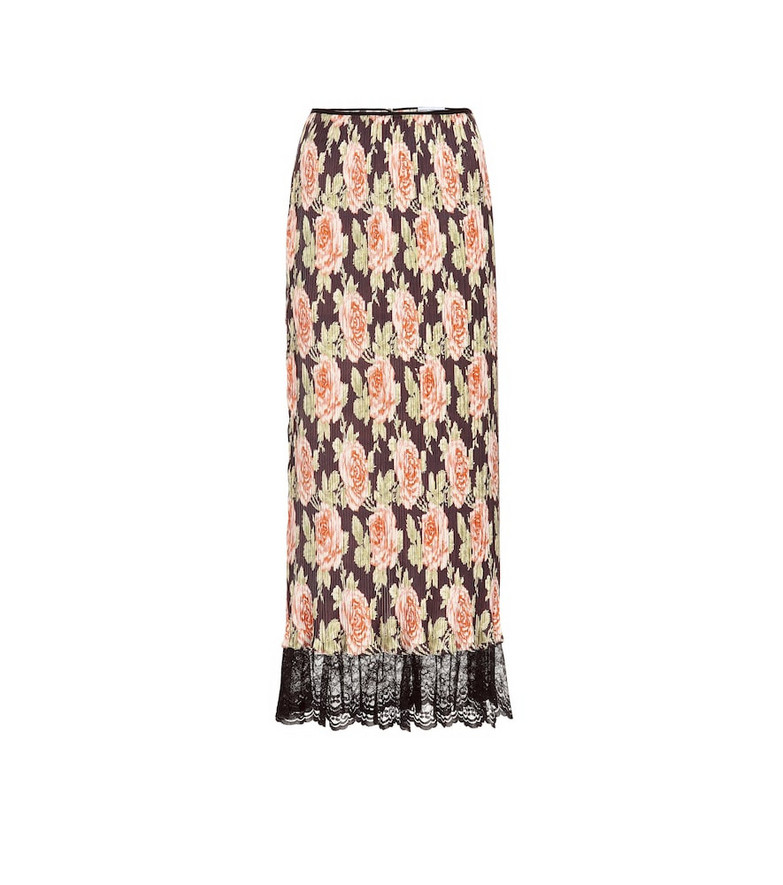 Paco Rabanne Lace-trimmed pleated floral skirt in pink