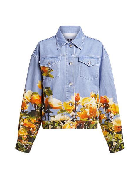 Msgm Giubbino Floral Denim Jacket Denim/yellow