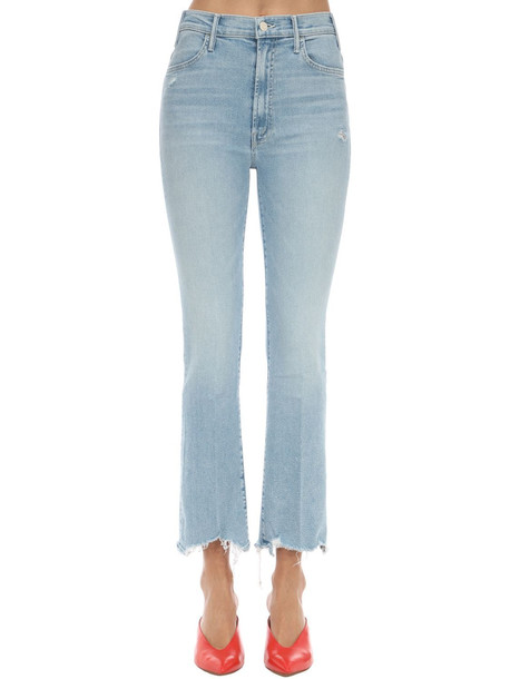 MOTHER The Hustler Distressed Stretch Jeans in blue