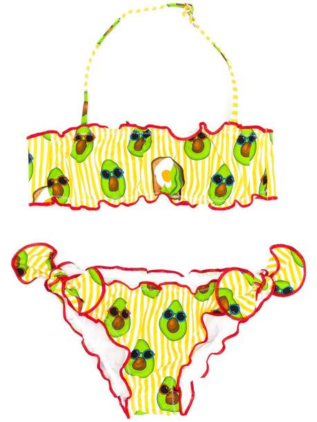 MC2 Saint Barth Avocado Print Striped Lycra Bikini Swim Suit