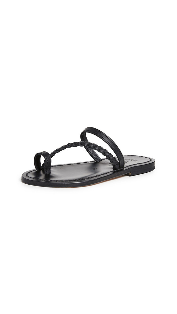 K. Jacques Septine Toe Ring Slide Sandals in noir
