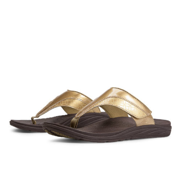 New Balance Revitalign Thrive Adjustable T-Strap Women's Flip Flops Shoes - Gold (W6057GD)