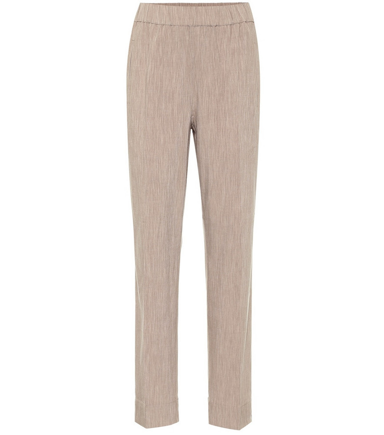 Ganni High-rise straight mélange pants in beige
