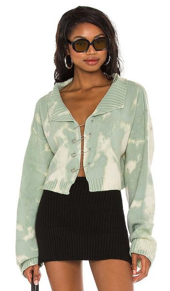 DANIELLE GUIZIO Tie-Dye Knit Safety Pin Sweater in Mint in green