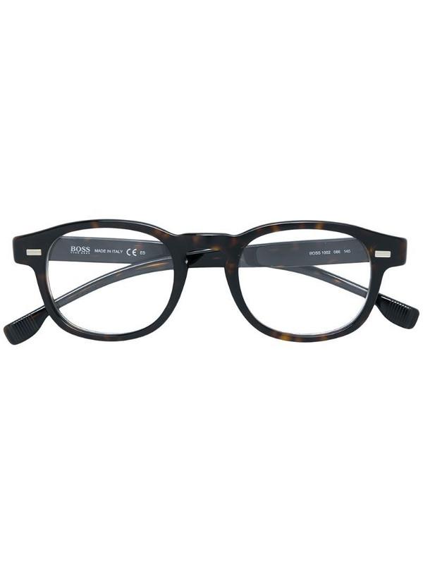 BOSS tortoiseshell-effect round sunglasses in brown