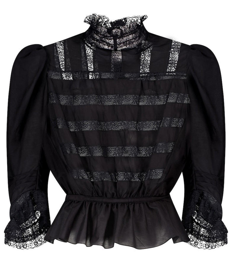 Marc Jacobs The Victorian cotton and silk blouse in black