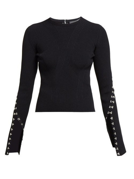 Alexander Mcqueen - Hook And Eye Trim Ribbed Sweater - Womens - Black