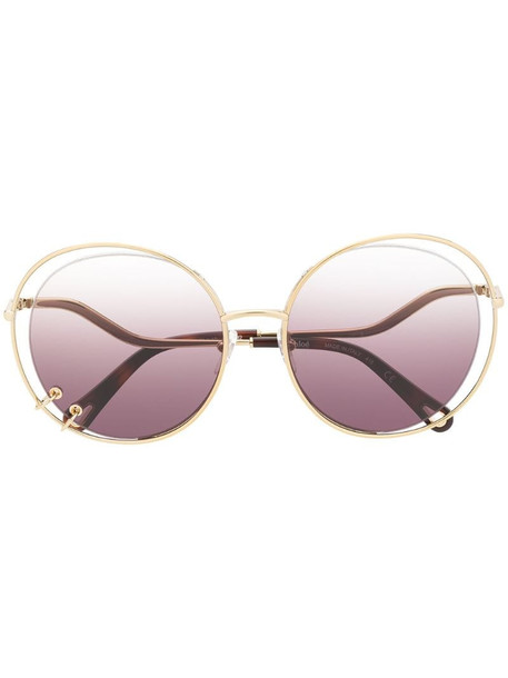 Chloé Eyewear oversized wire detail sunglasses in gold