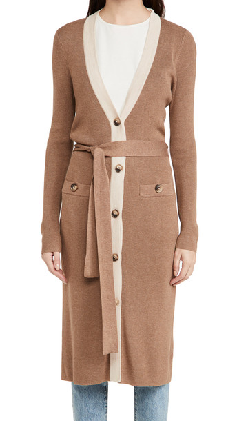 L'AGENCE Rebecca Ribbed Band Long Cardigan in camel