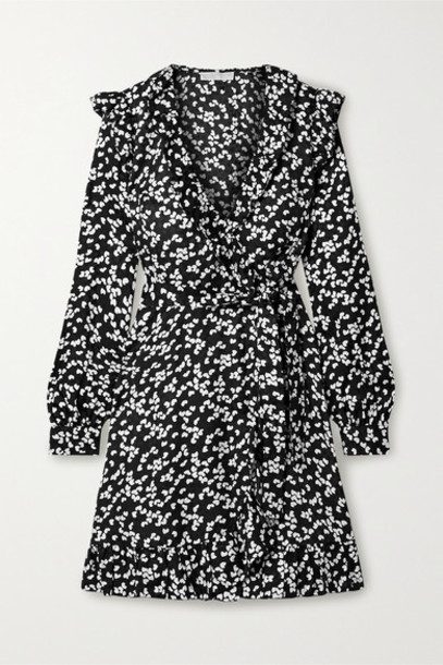 MICHAEL Michael Kors - Ruffled Printed Silk-blend Satin-jacquard Wrap Dress - Black