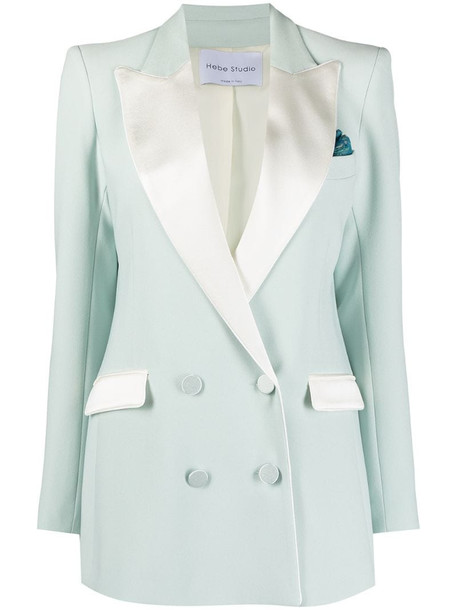 Hebe Studio contrast-lapel double-breasted jacket in green