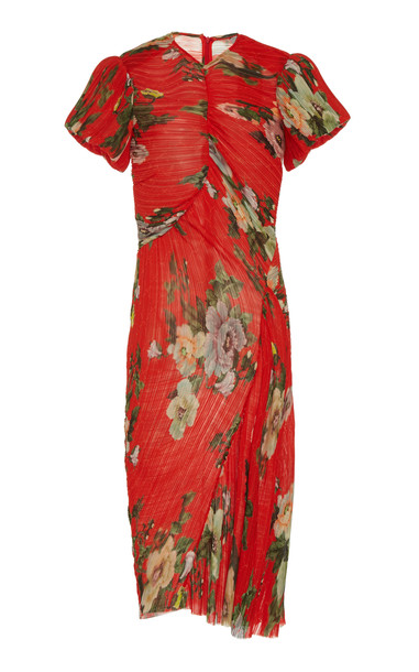 Preen by Thornton Bregazzi Floral-Print Ruched Georgette Midi Dress Si in red